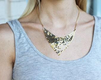 Triangle Mesh Necklace, Collar Necklace, Bib Necklace, Chainmail Necklace, Triangle Necklace, Shiny Necklace