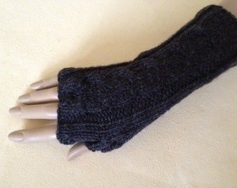 Knit to Order Fingerless Gloves Arm Wrist Warmers, Shale (soft dark grey), Luxury Hand Knitted Soft Merino Wool Mittens 18 Colours