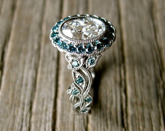 Yehuda Diamond Engagement Ring in Platinum with Teal Turquoise Blue Diamonds in Fine Vine Setting Size 6