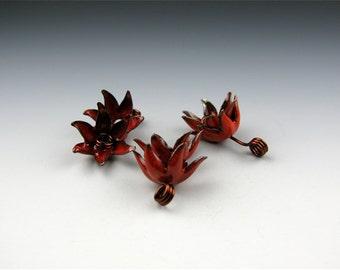 Enameled Bellflower Caps /  Orient Red Enamel / Made to order