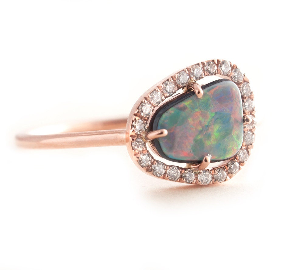 opal ring gold opal ring black opal gold ring by