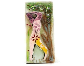 Paintig on  glass,  Fused glass wall hanging artwork , Eve and the apple tree by Virtulyglass