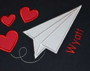 Boy's Paper Airplane and Hearts T-Shirt - Personalized Valentine's Day Shirt