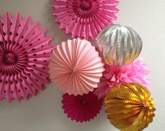 Pom Pom Mix DIY Decor Kit - 9 Pom Wheels Dessert Hanging Fan Deco Hour Decor - Baby Mobile - Accordion Lantern Paper Fans - Metallic Lantern