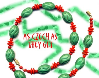 Necklace~Early 20th C. Chechoslovakian Glass Red & Green Beads