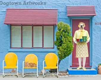 House of Blue Light, large original photograph of Boxer dog wearing vintage dress in front of blue stucco house