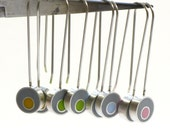 Sterling Silver and Resin Dangle Earrings in Gray and Green