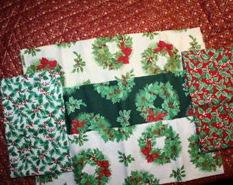 Yuletide Traditions Northcott 5 Yard Bundle Christmas Holly Wreaths Quilting Cotton