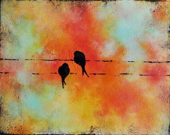 """Birds on a Wire Original Abstract Painting Lovebirds Romantic Painting Red Orange Turquoise 9x12"""""""