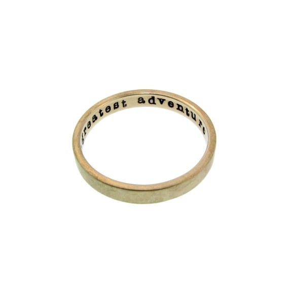 Solid 14K Gold Stacking Ring Personalized Hand Stamped Message Phrase Posey Custom Wedding Band Engraved Artisan Handmade Designer Jewelry