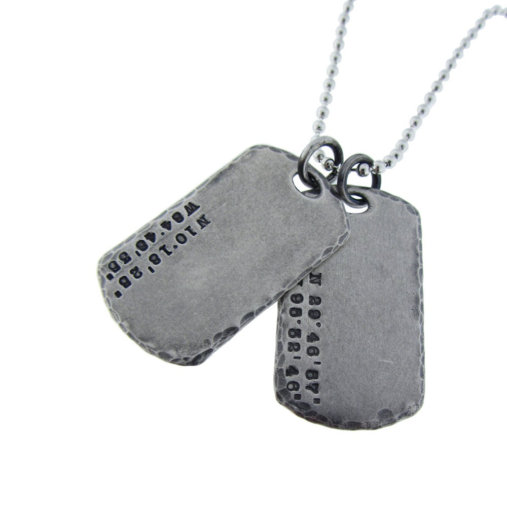 Gps Coordinate Silver Dog Tag For Him Hand Stamped Mens