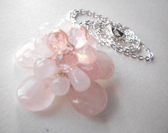 Rose quartz flower necklace,  wire wrapped rose quartz briolette pendant necklace with silver chain