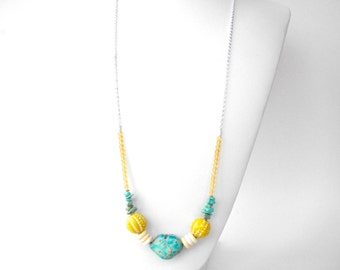 "Tribal turquoise necklace, long strand necklace with yellow blue and bone beads, 32"" silver chain necklace"