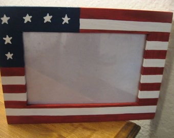 Fourth of July 4th of July Primitive Americana Patriotic family personalized photo picture frame