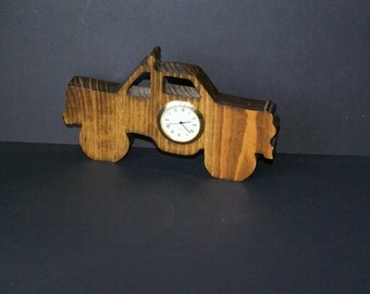 Pick Up Truck 4 Wheeler  Wood Shelf Sitter Clock