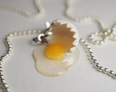 Miniature Food Jewelry, Broken Egg Necklace, Food Necklace