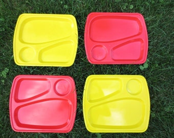 Retro Plastic- snack plates-divided red and yellow