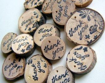 130  Wooden Tree Branch Charms Thank You