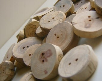 100  Small Unfinished Tree Branch Buttons Handmade Wooden Button 1 inch