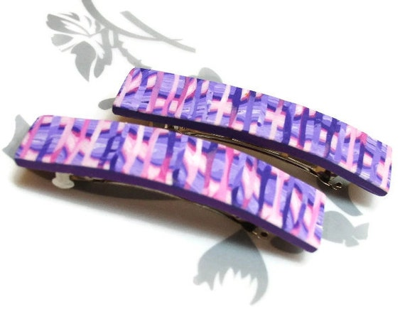 French Hair Barrette - Handmade Polymer Clay Purple Striped Small Barrette Set