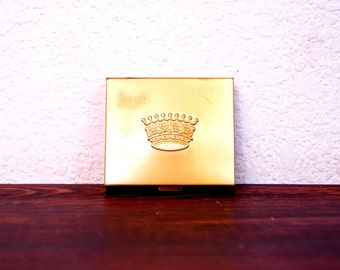 Vintage Brass Mirror Compact with Crown / Rockabilly Pin Up Accessory