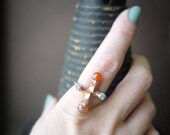 Electroformed Copper and Multi-Stone Ring - Ancient Atom - pookaqueen