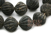 One Handmade Old African Clay Handmade Focal Bead 28x30 mm Dark brown Pumpkin Shape (grooved)