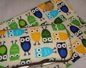 Designer Travel Wipes Case with Diaper Strap and Matching Change Pad: Owls Blue