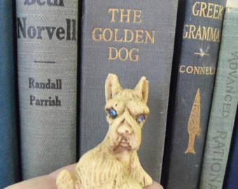Tiny Vintage Blonde Resin or Bone Scotty Dog With Pale Blue Rhinestone Eyes from Rustysecrets