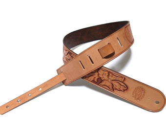 Hand Carved Wild Rose Guitar Strap
