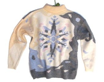 Patterned Ski Sweater Geometric Snowflake Pullover Jumper Large, Angora Wool Blend S M