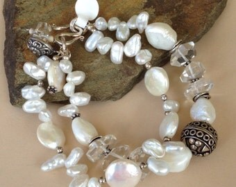 Fresh Water Pearls and AAA Faceted Quartz Bracelet