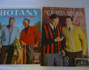 Set of 2 Mid Century Knitting Pattern Books, Men's and Boys' Fashion, Columbia Minerva and Botany