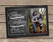Photo Christmas Card : Merry Christmas Happy Everything Vintage Chalkboard Custom Photo Holiday Card Printable