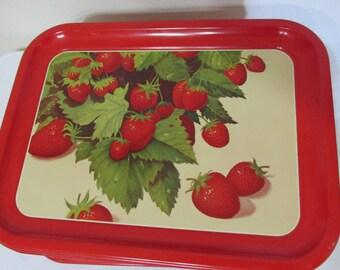 Strawberry Design Trays Set of 6 Red Serving Platter