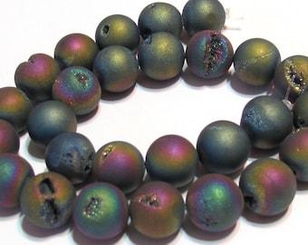 Druzy type 12mm round beads rainbow matte titanium coated