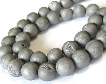 10mm Druzy type round beads silver matte titanium coated