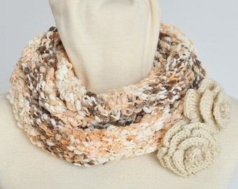 Creamy Berry - Crochet Rose Appliaque Handknitted Multicolor Scarf