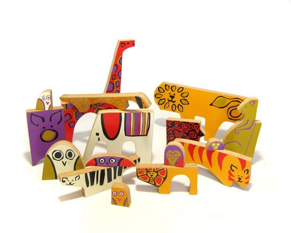 RESERVED - 3rd Payment - Vintage Mid Century Modernist Wooden Stylized Zoo Animals Enzo Mari Style Animali Puzzle - with Original Box