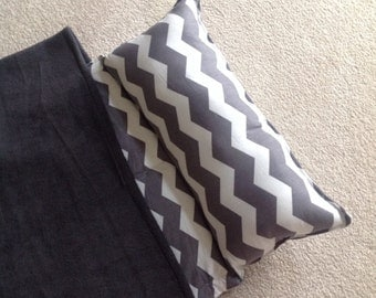 Personalized nap mat, Great for daycare or preschool. Gray chevron with gray blanket for girls or boys, Soft and cuddly.