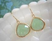 Fluorite Green Earrings, Gold Framed Glass Earrings