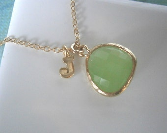 Personalized Necklace, Green Necklace, Letter Necklace, Peridot Necklace, Initial Necklace, Pendant Necklace, Gold Necklace