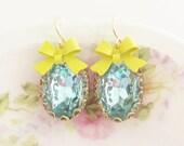 Aqua Blue Scallop Yellow Bow Earrings - Vintage Rhinestone Gold Lace Scallop Gold Plated Dangle Earrings - Wedding, Bridal, Bridesmaid