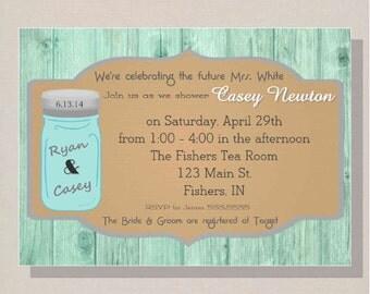 Digital Antique Mason Jar & Wood Wedding Shower Invitation DIY Printable
