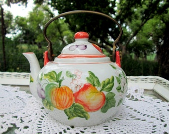 Vintage Small teapot Brass handle Fruit pattern apples plums strawberries
