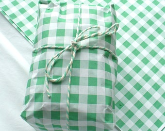 "Green Gingham Food Safe Wrapping Paper 25 sheets 10"" x 15"""