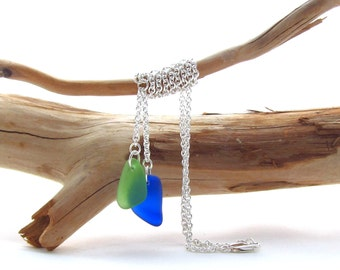 Sterling Silver Chain w/Beach Glass Drops - Kelly/Cobalt