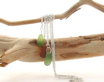 Y  Beach Glass Necklace -  Sage/Amber/Sage