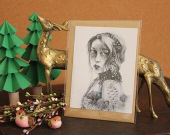 Mermaid Mask Greeting Card // Print of Original Fantasy Illustration