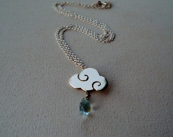 SWEET CLOUDS - sterling silver necklace with blue topaz drops